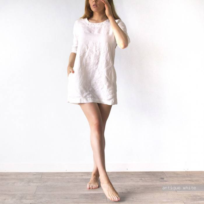 LINEN DRESS short with pockets