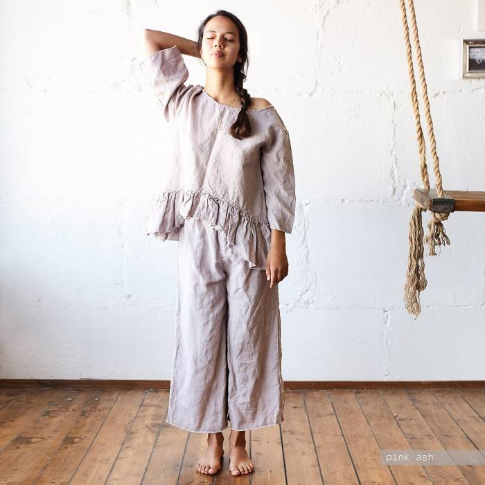 LINEN PAJAMA ruffle top and culottes