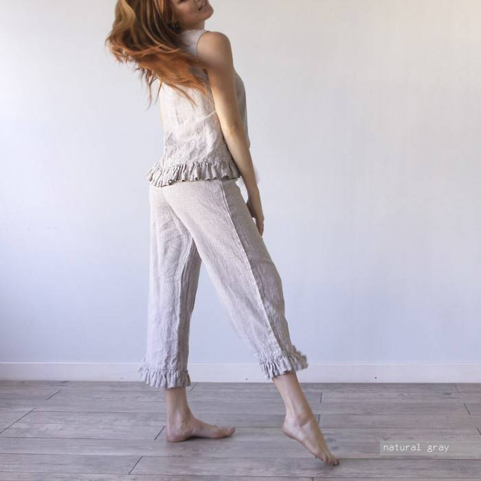 LINEN PAJAMA  top and ruffle culottes