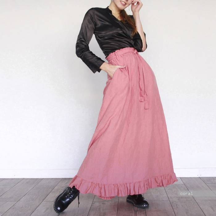 LINEN SKIRT with ruffle raw-edged