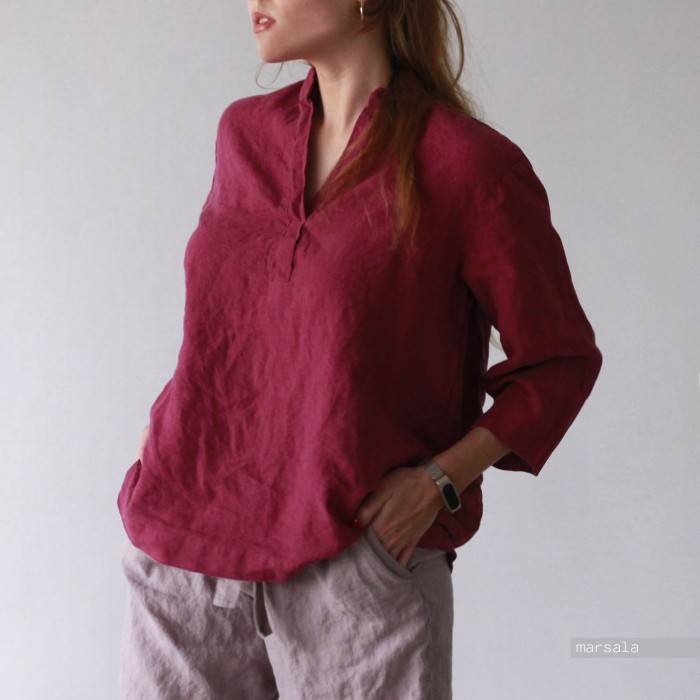 LINEN SHIRT with a collar