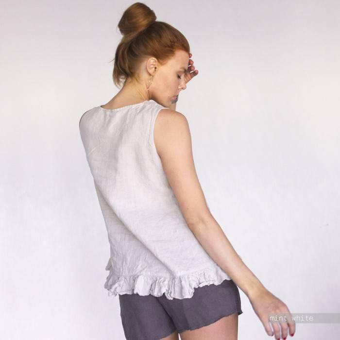 LINEN TOP sleeveless with little ruffle