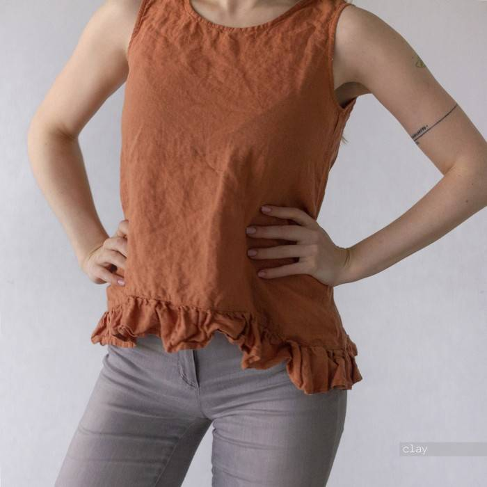 LINEN TOP sleeveless with little ruffle