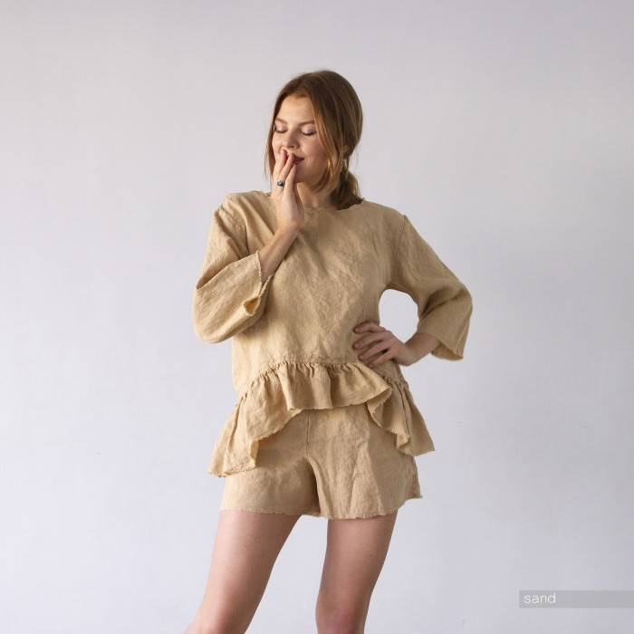 LINEN PAJAMA ruffle top and shorts