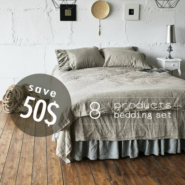 FLAX GRAY Linen bed in bag