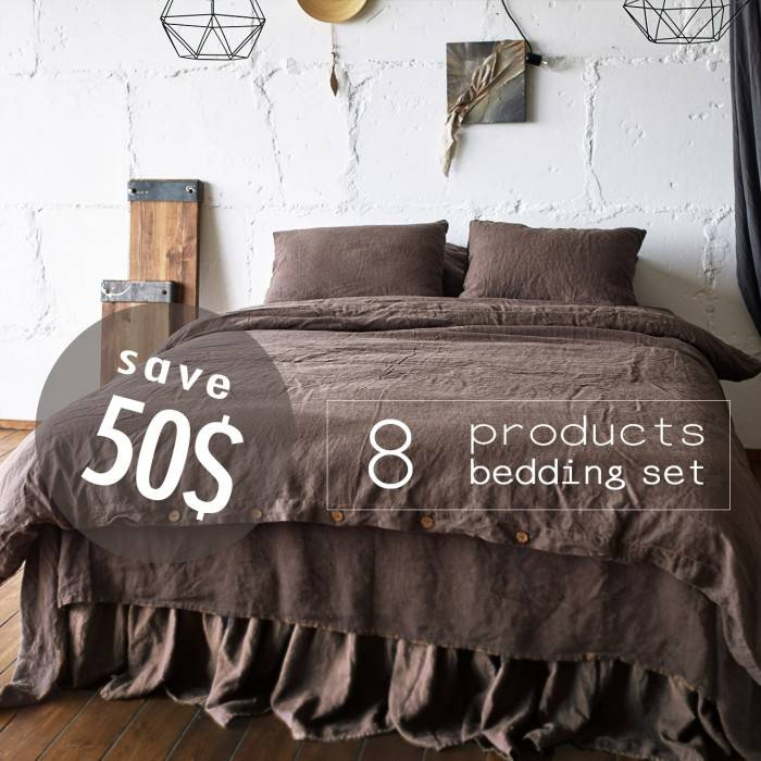 CHOCOLATE BROWN  Linen bed in bag