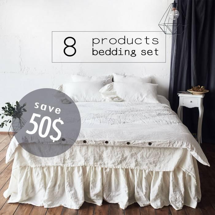 ANTIQUE WHITE Linen bed in bag