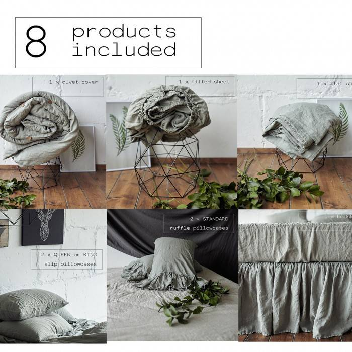SAGE GREEN Linen bed in bag