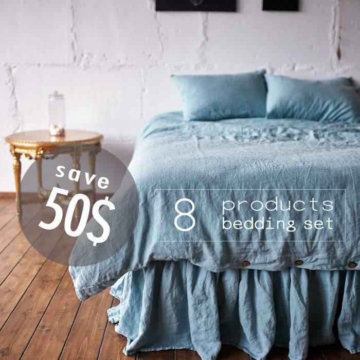 DUCK EGG Linen bed in bag